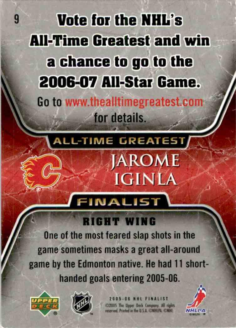 2005-06 Upper Deck All-Time Greatest Jarome Iginla #9 card back image