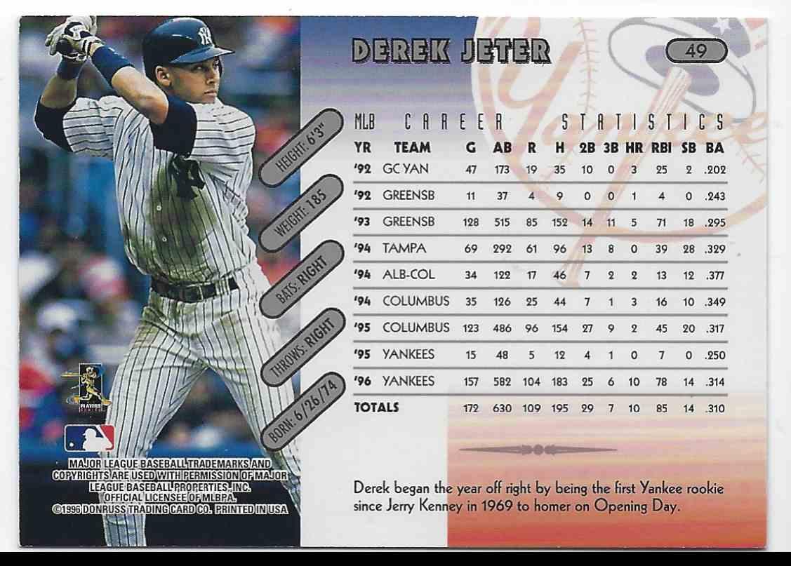1997 Donruss Derek Jeter #49 card back image