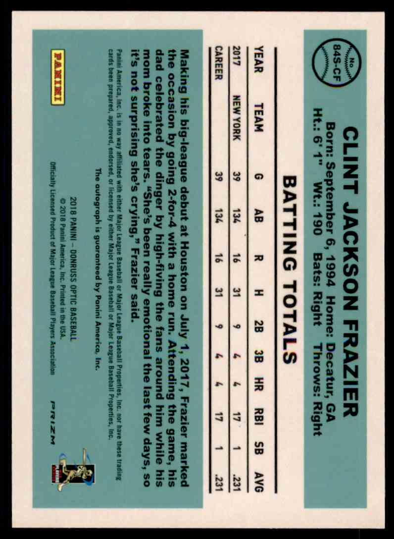 2018 Donruss Optic '84 Retro Clint Frazier #84S-CF card back image