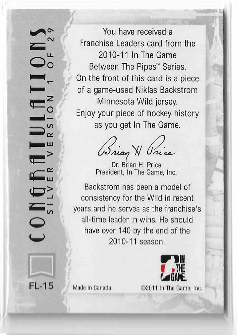 2010-11 In The Game Between The Pipes Franchise Leaders Silver Niklas Backstrom #FL-15 card back image