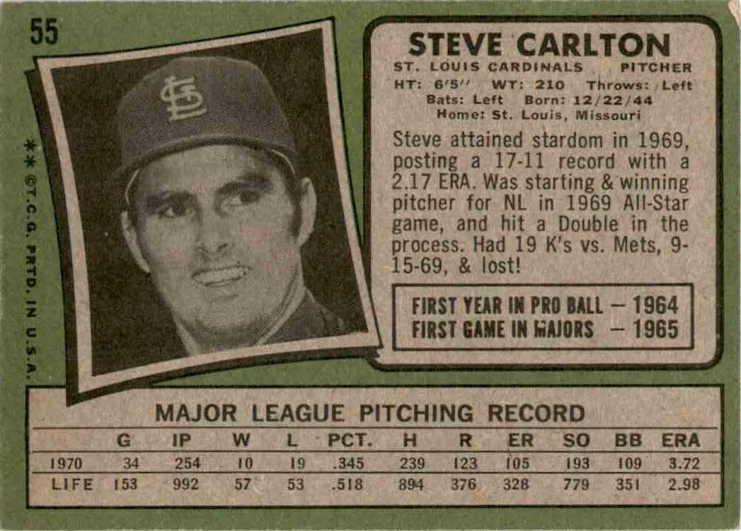 1971 Topps Steve Carlton #55 card back image
