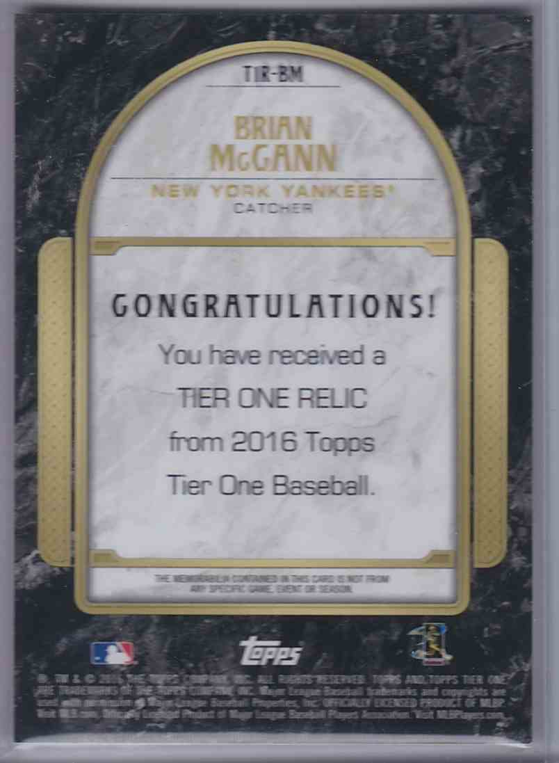 2016 Topps Tier One Relics Brian McCann #T1RBM card back image