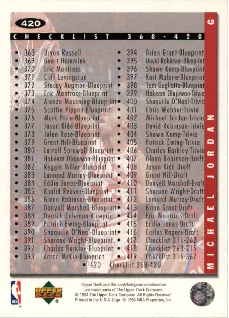 1994-95 Upper Deck UD Choice Michael Jordan #420 card back image