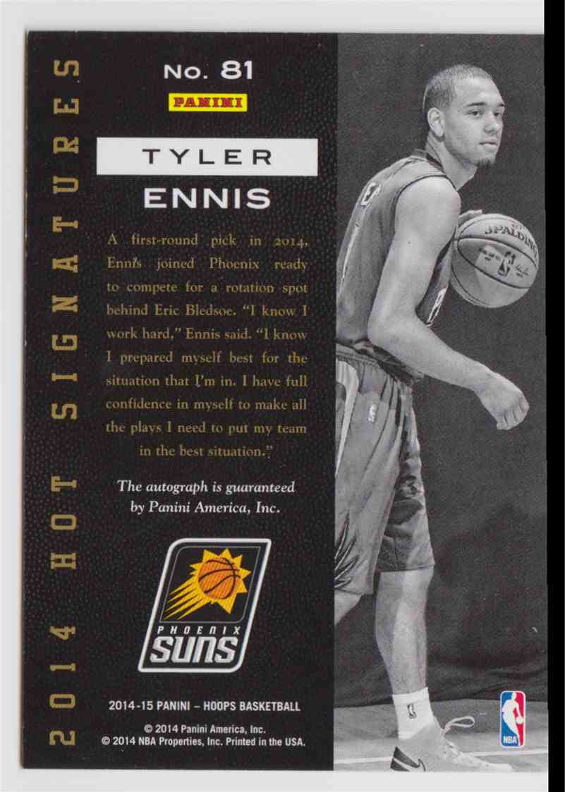 2014-15 Panini Hoops Hot Signatures Tyler Ennis #81 card back image