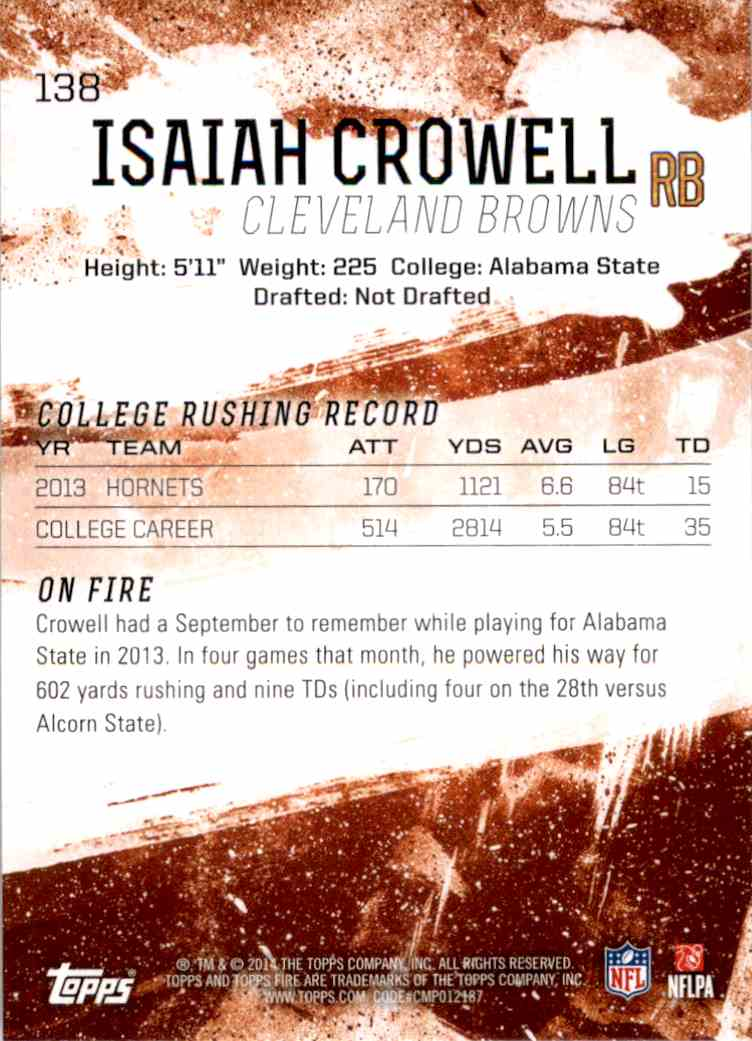 2014 Topps Fire Isaiah Crowell RC #138 card back image
