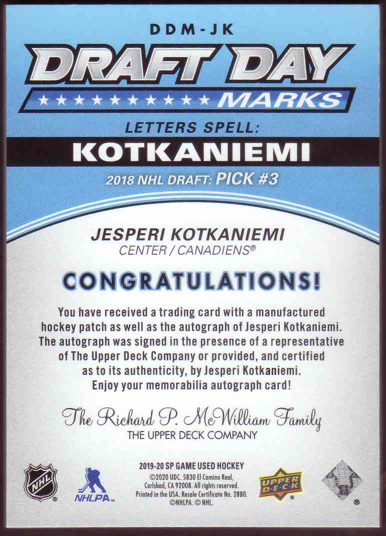 2019-20 SP Game Used Draft Day Marks Jesperi Kotkaniemi #DDM-JK card back image
