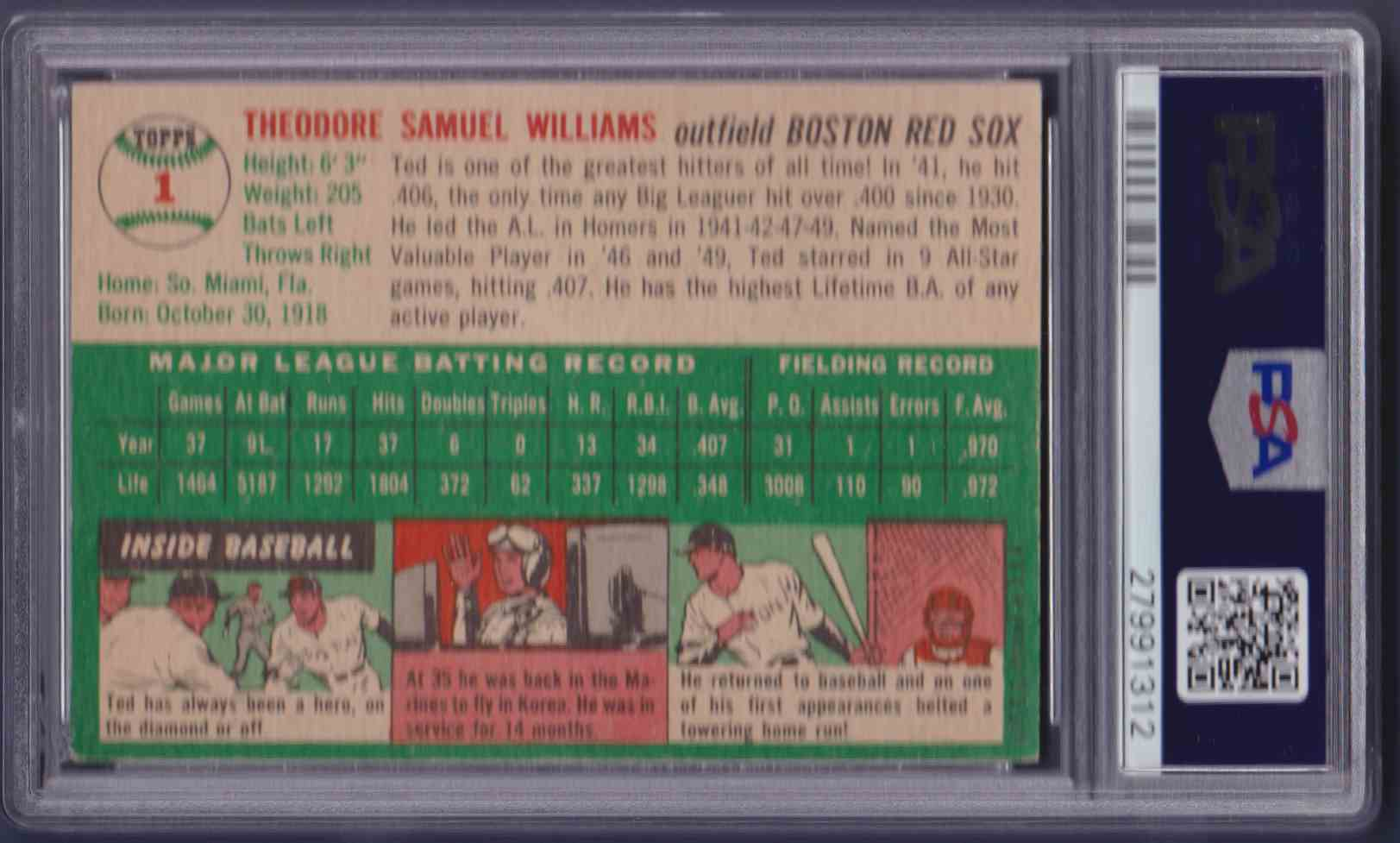 1954 Topps Ted Williams #1 card back image