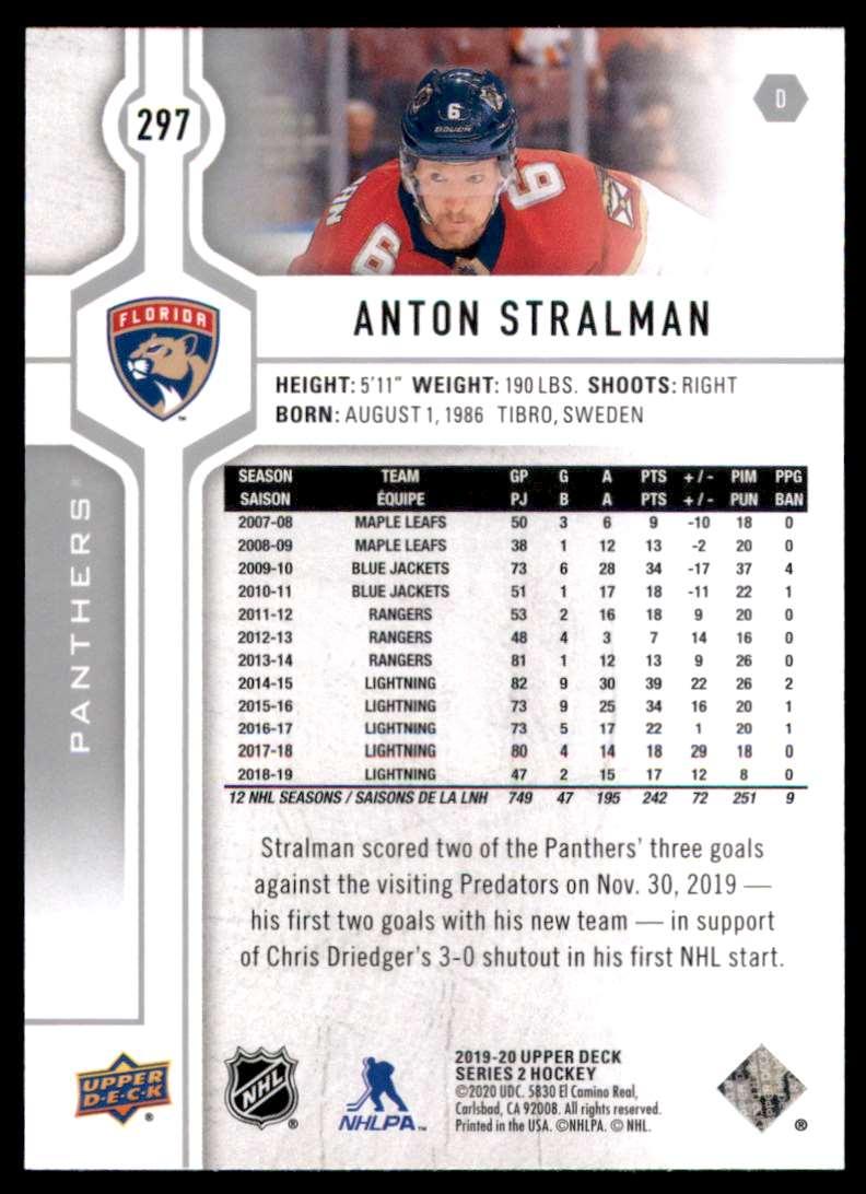 2019-20 Upper Deck Anton Stralman #297 card back image
