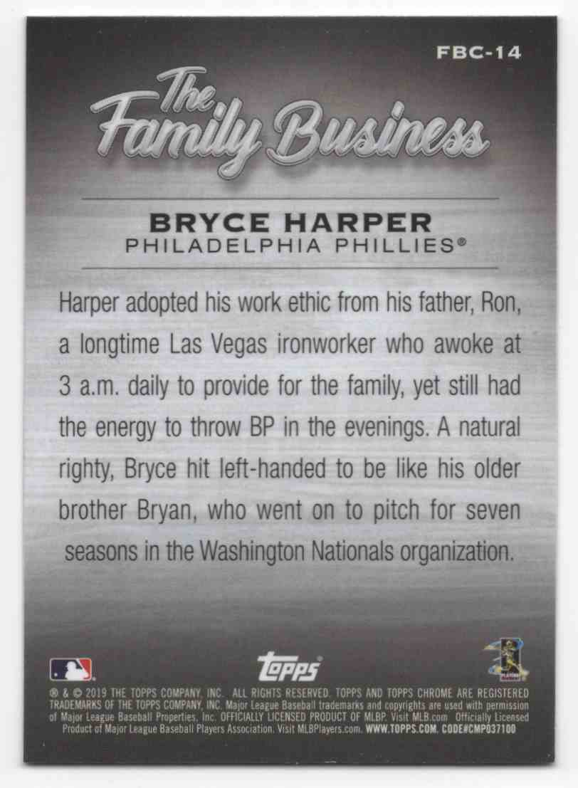 2019 Topps Chrome Update The Family Business Bryce Harper #FBC14 card back image