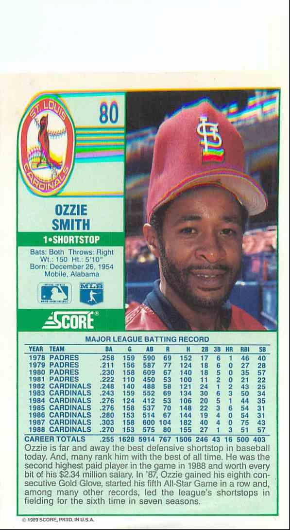 1989 Score Ozzie Smith 80 On Kronozio