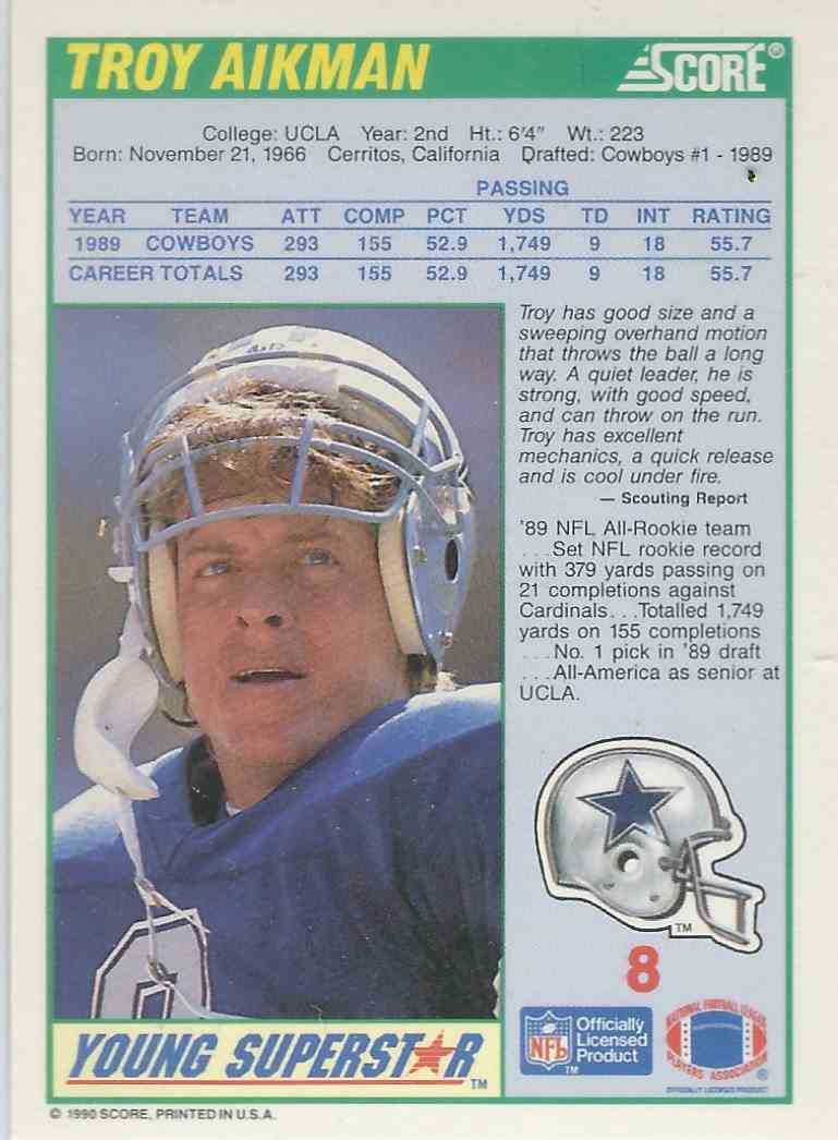 1990 Score Young Superstars Troy Aikman 8 On Kronozio