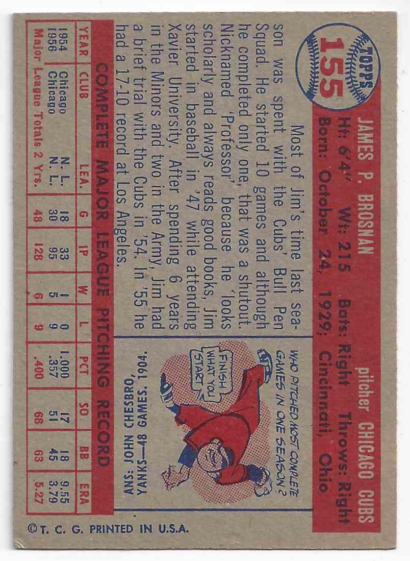1957 Topps Jim Brosnan #155 card back image