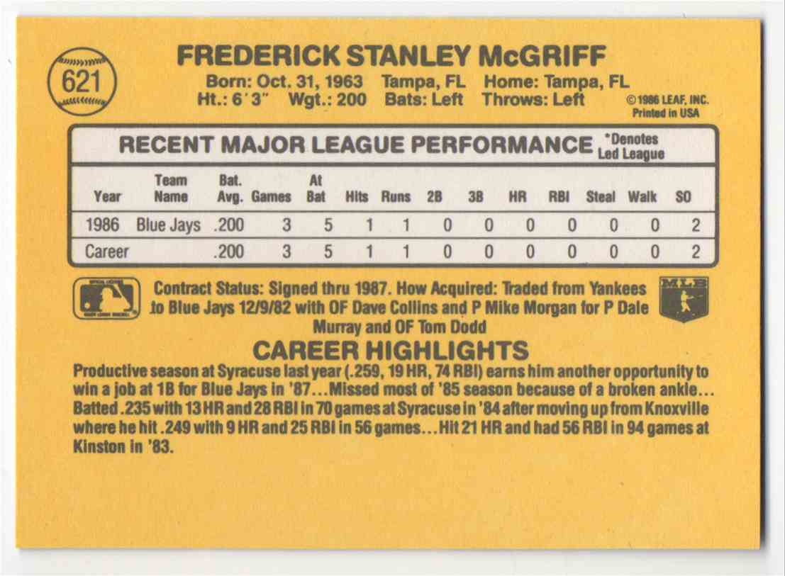 1987 Donruss Fred McGriff #621 card back image
