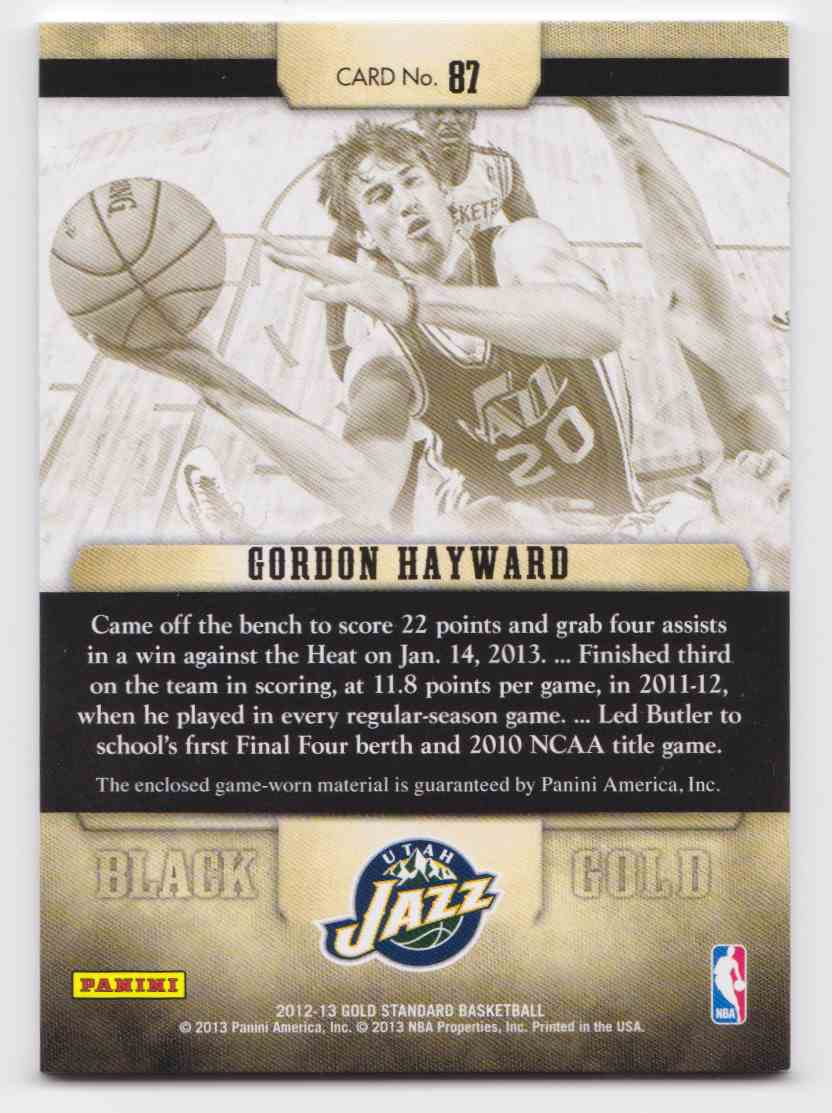 2012-13 Panini Gold Standard Black Gold Gordon Hayward #87 card back image