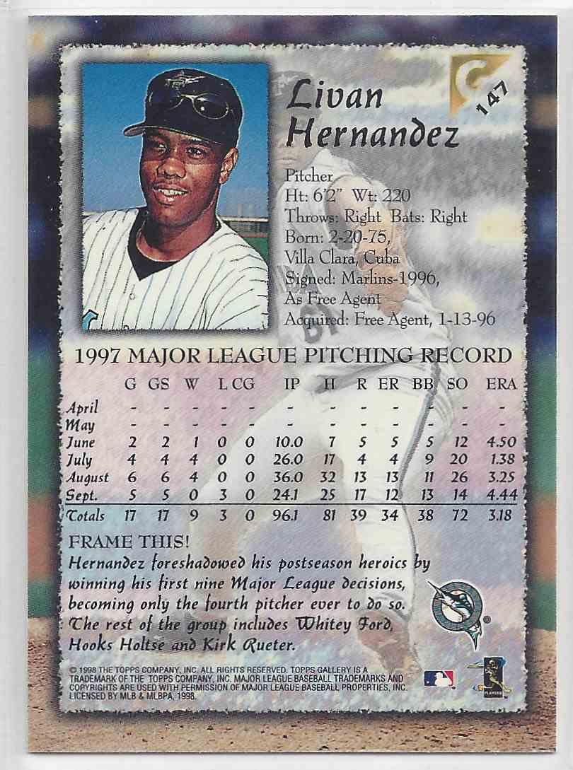 1998 Topps Gallerry Impressions Livan Hernandez #147 card back image
