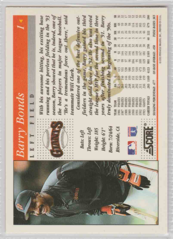 1994 Score Gold Rush Barry Bonds #1 card back image