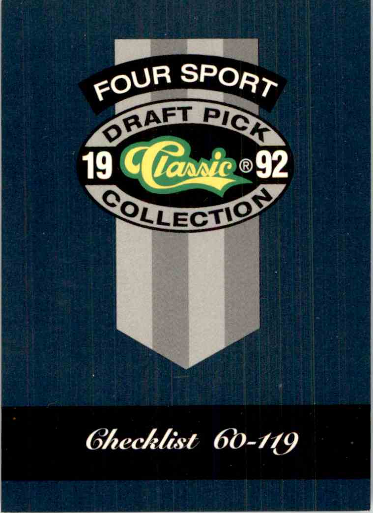 1992-93 Classic Four Sport Checklist #321 card front image