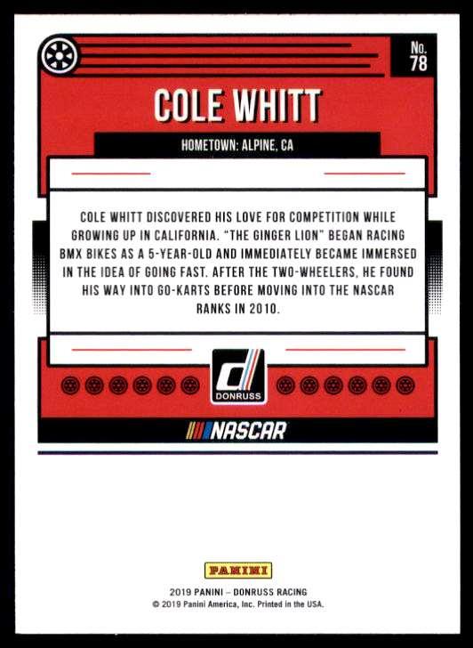 2019 Donruss Cole Whitt #78 card back image