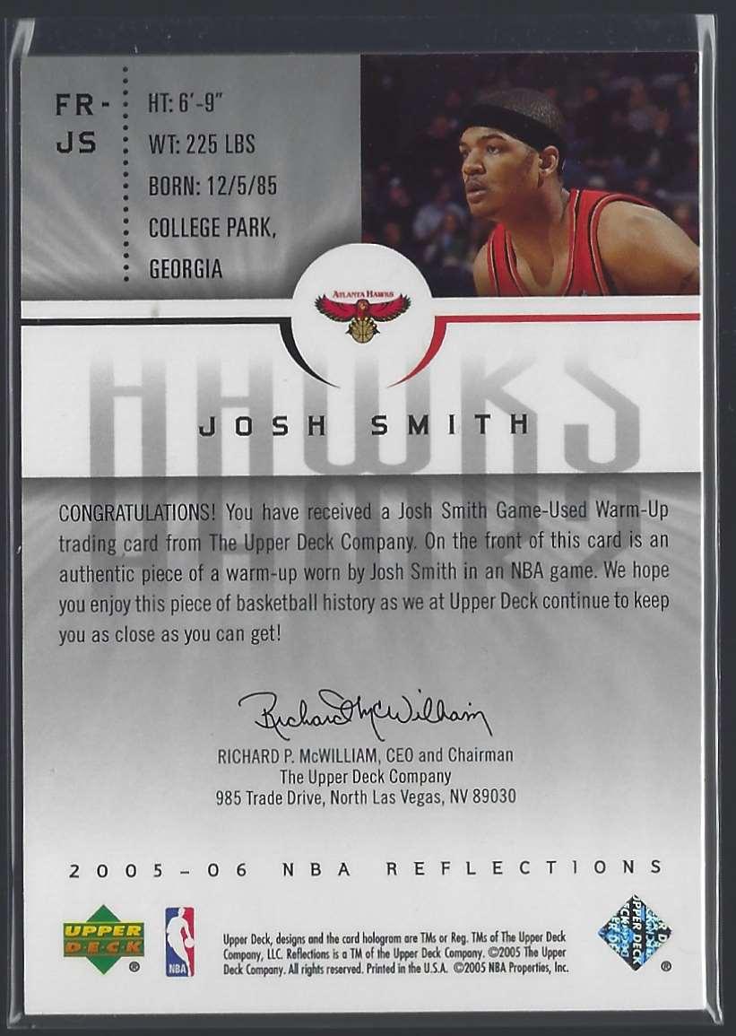 2005-06 Reflections Fabrics Josh Smith #FRJS card back image