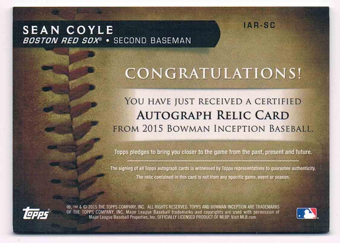 2015 Bowman Inception Sean Coyle #IAR-SC card back image