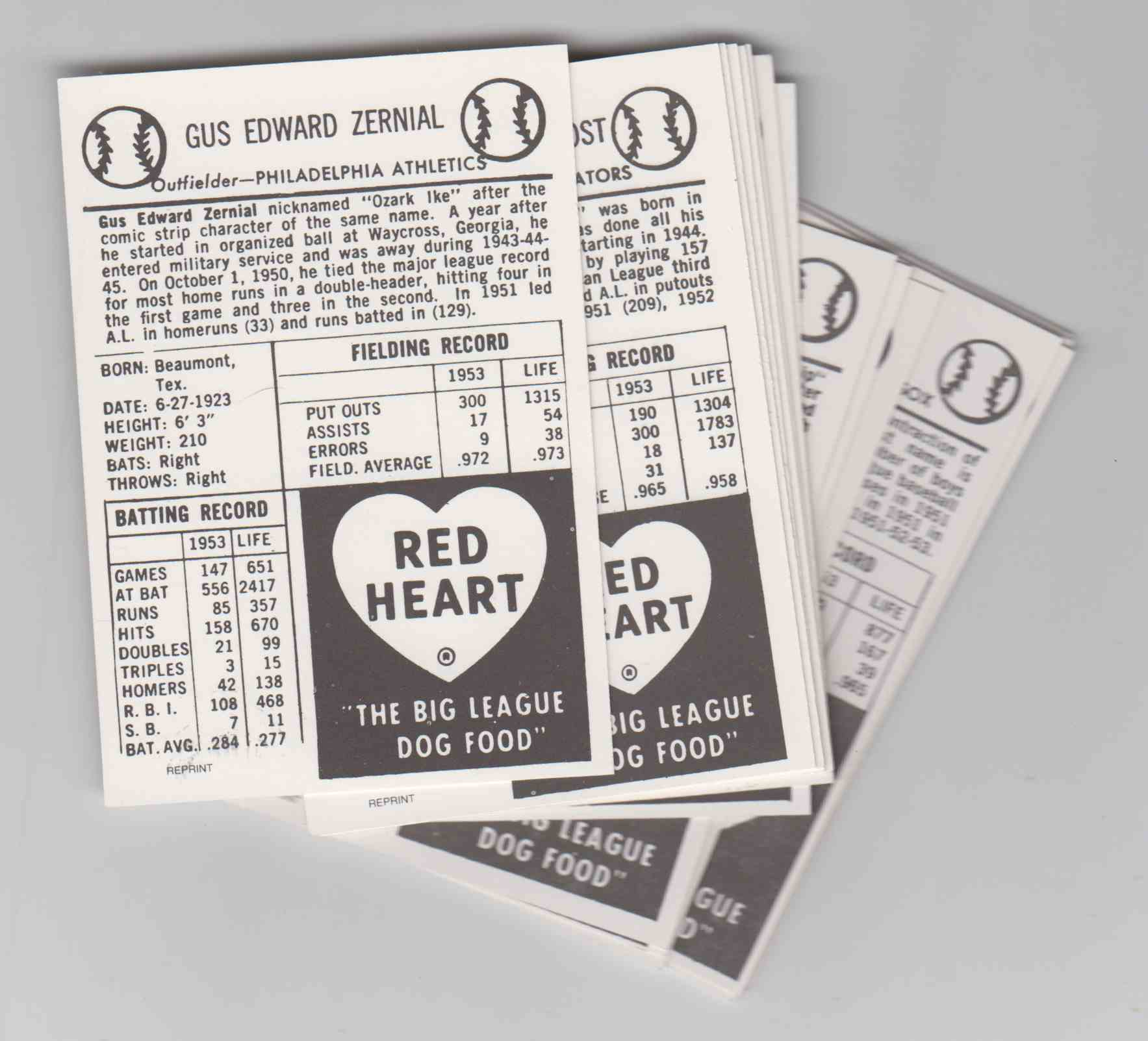 1989 1954 Red Heart Reprints 33 Cards Set card back image