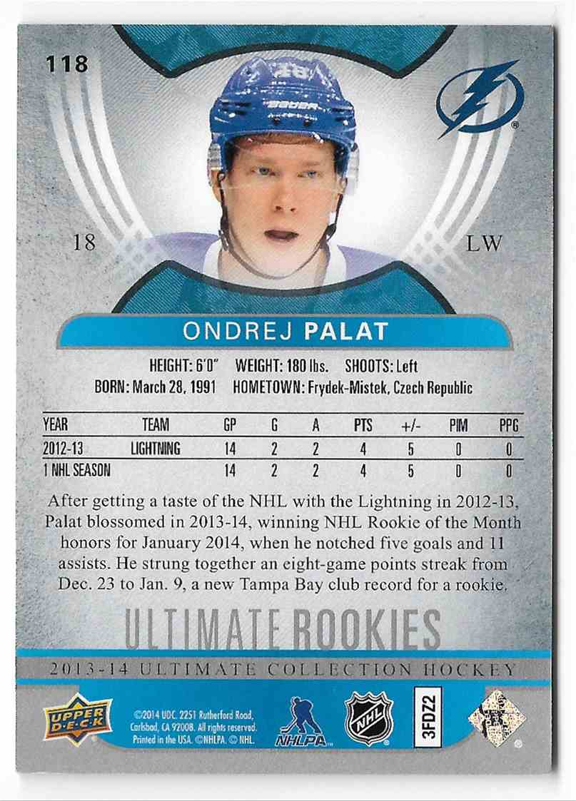 2013-14 Upper Deck Ultimate Ondrej Palat #118 card back image
