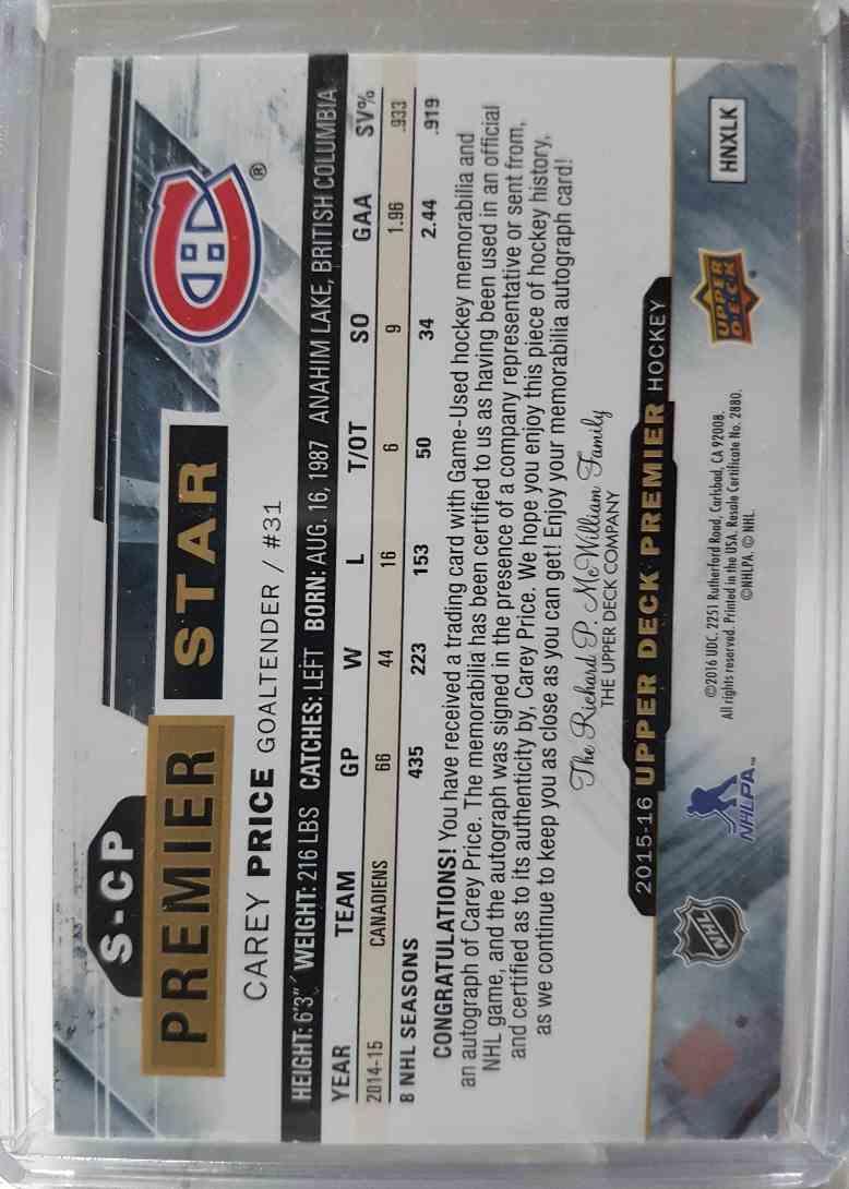 2015-16 Upper Upper Deck Premier Carey Price 09/49 #S-CP card back image