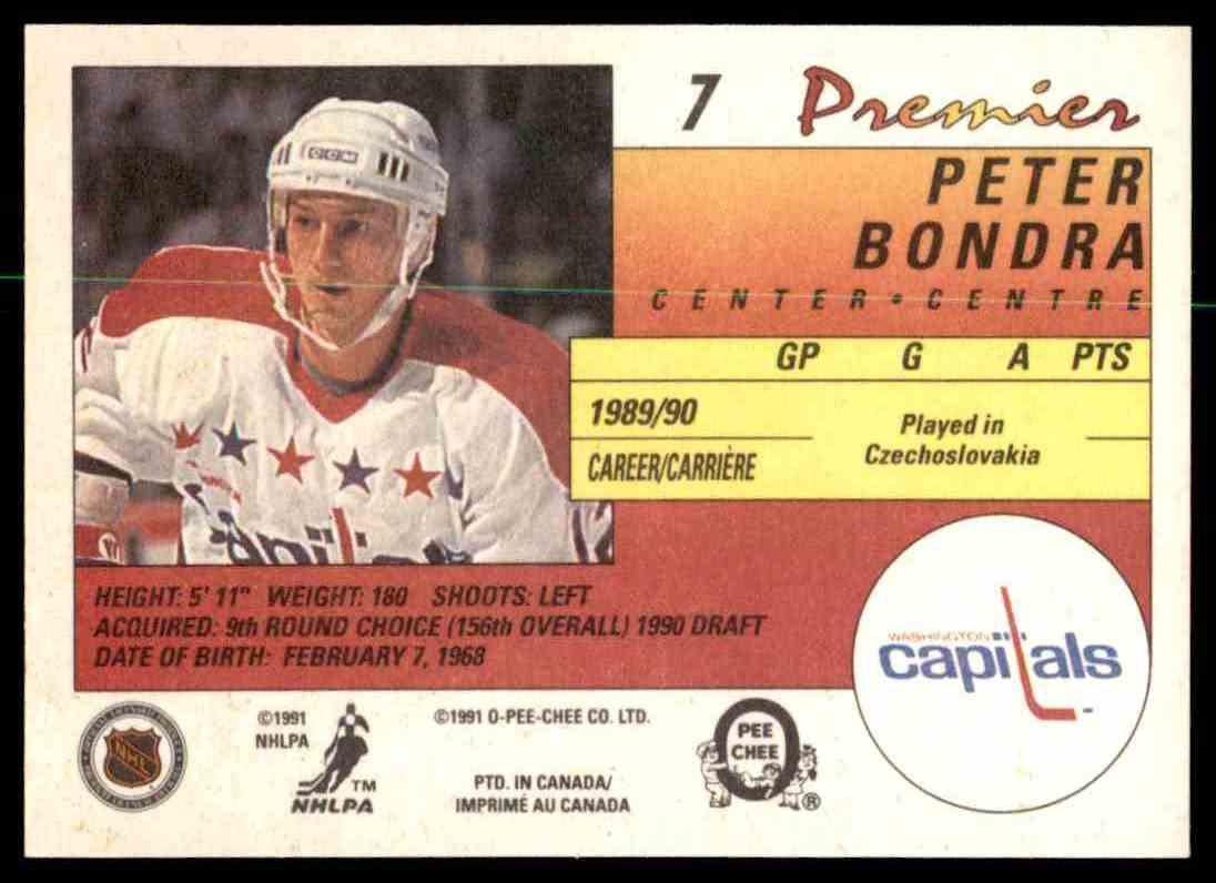 1990-91 O-Pee-Chee Premier Peter Bondra #7 card back image