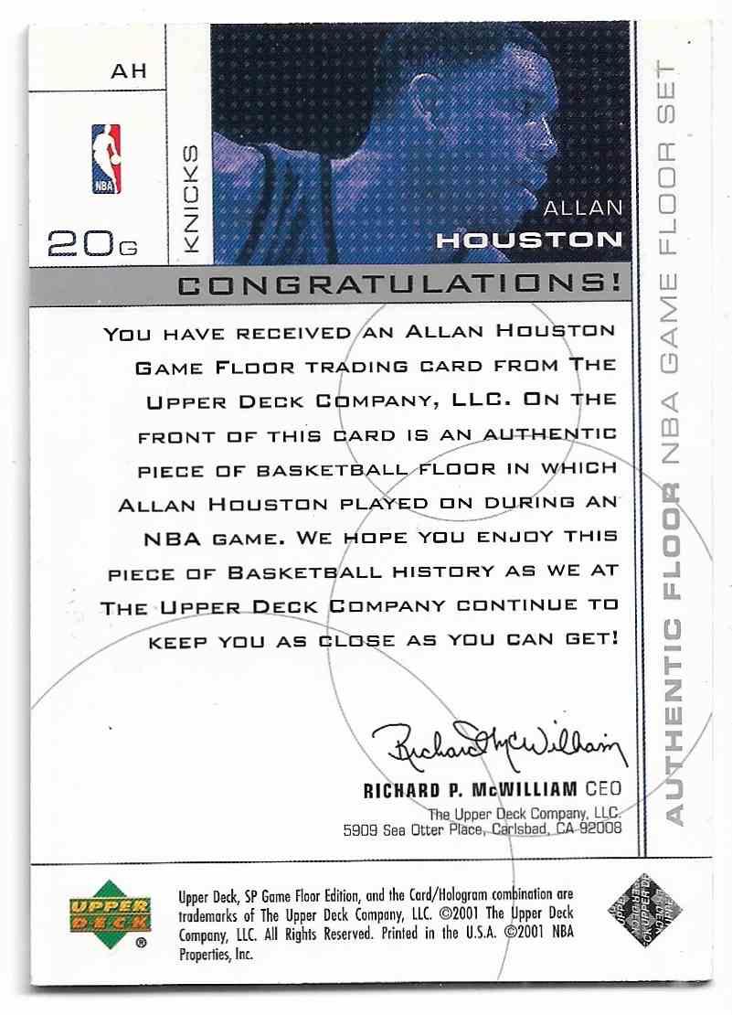 2000-01 Upper Deck SP Game Floor Edition Allan Houston #AH card back image