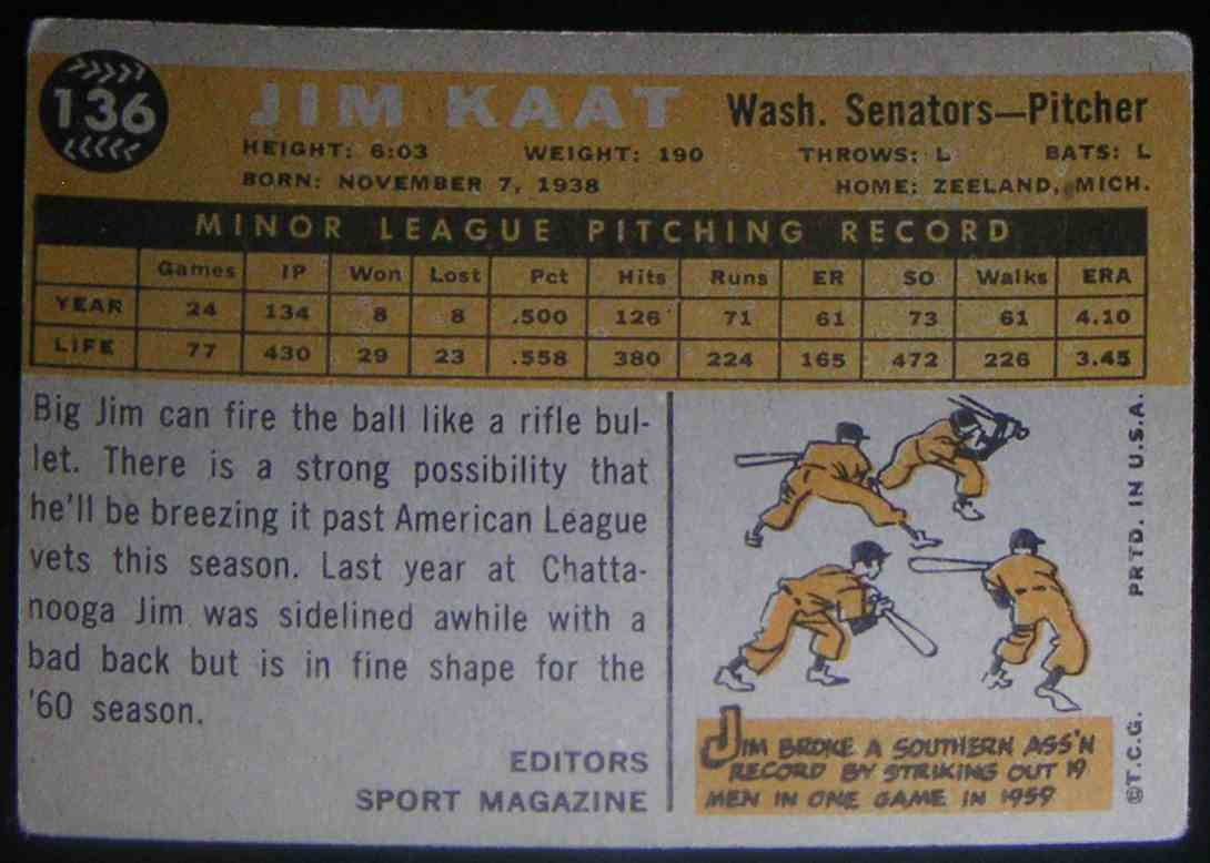 1960 Topps Jim Kaat #136 card back image