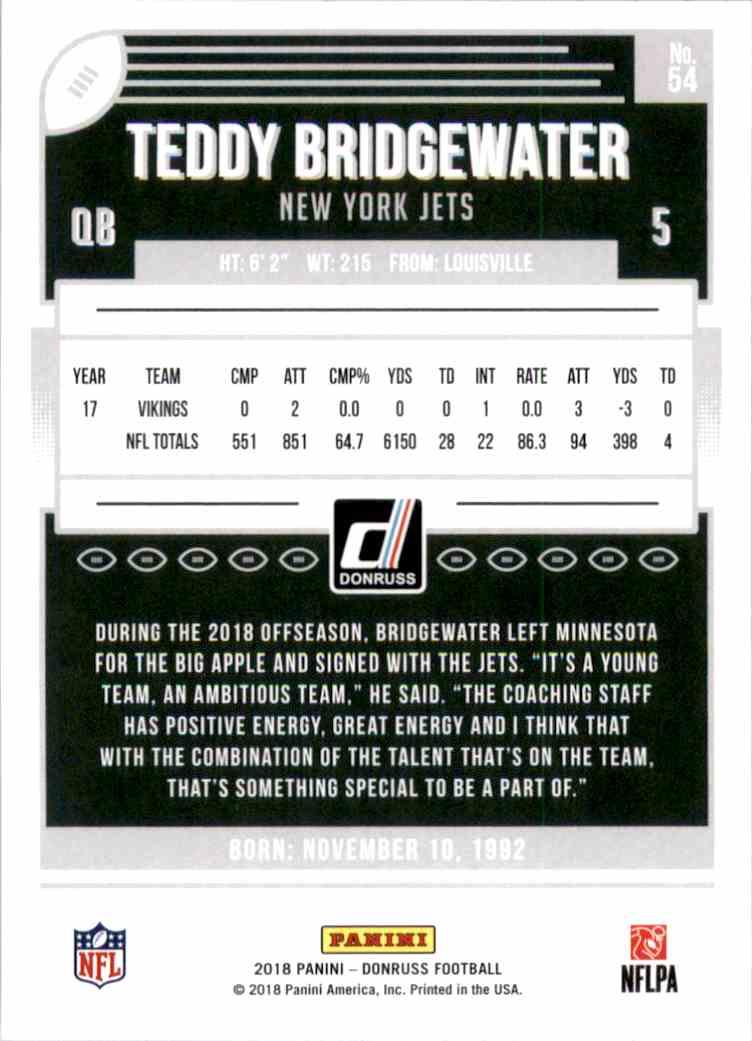 2018 Donruss Teddy Bridgewater #54 card back image