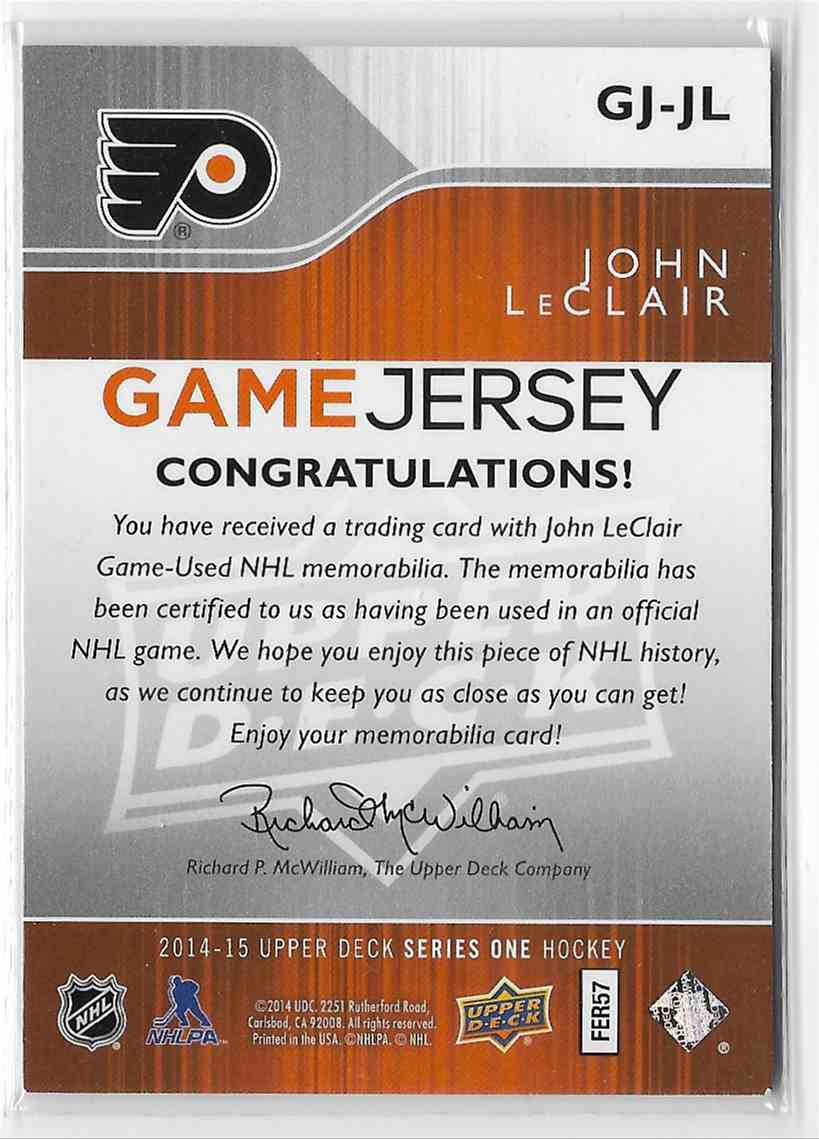 2014-15 Upper Deck John LeClair #GJ-JL card back image