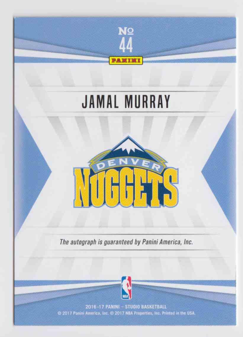 2016-17 Panini Studio Signatures Gold Jamal Murray #44 card back image