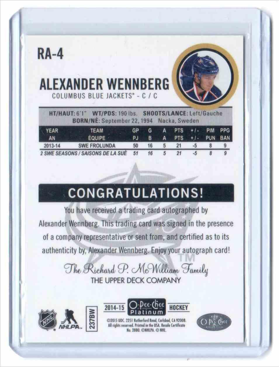 2014-15 O-Pee-Chee Platinum Rookie Autographs Rainbow Alexander Wennberg #RA-4 card back image