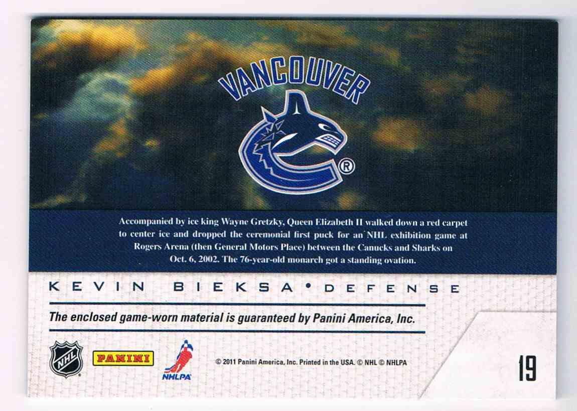 2011-12 Pinnacle Game Night Kevin Bieksa #19 card back image