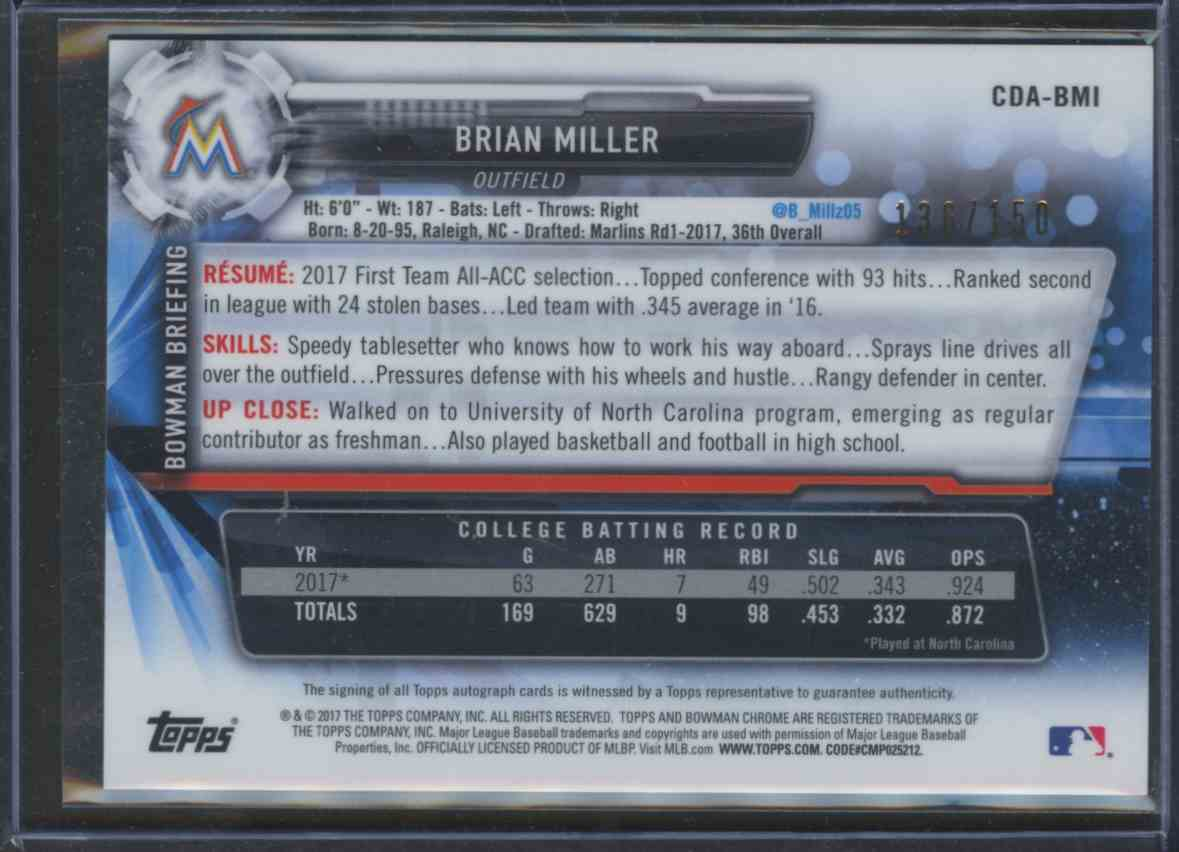 2017 Bowman Chrome Draft Blue Wave Refractor Autograph Brian Miller card back image