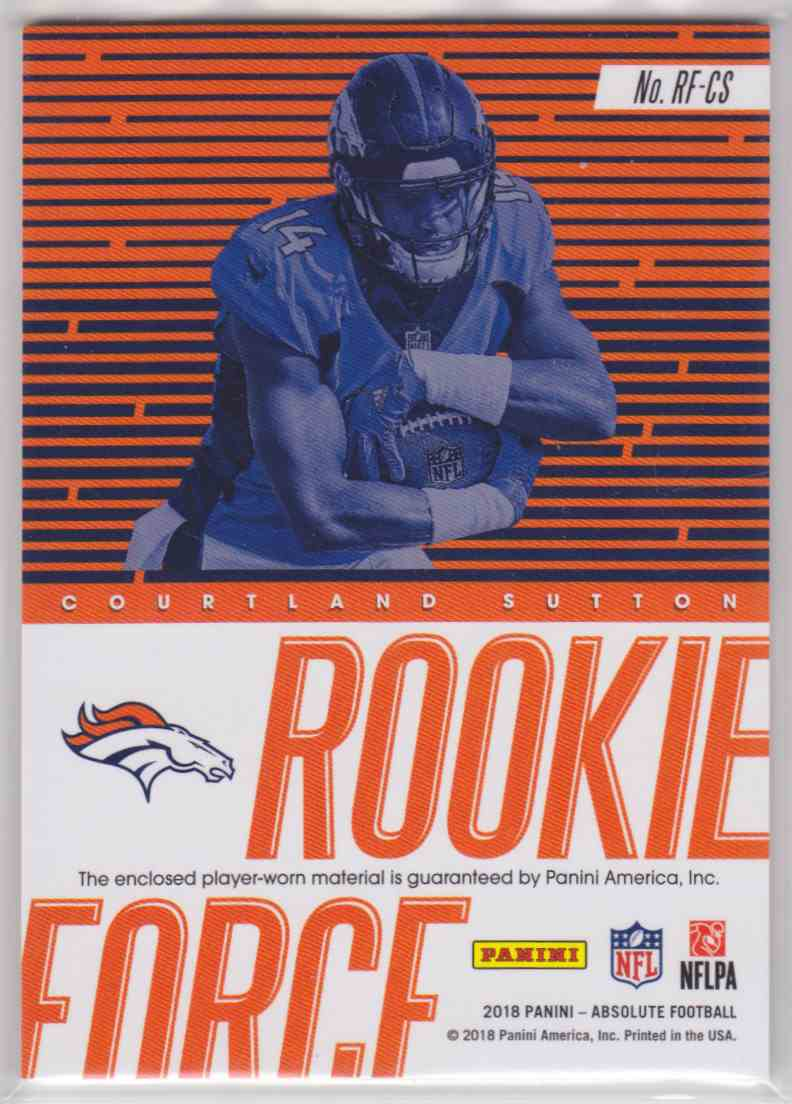 2018 Absolute Rookie Force Materials Courtland Sutton #RF-CS card back image