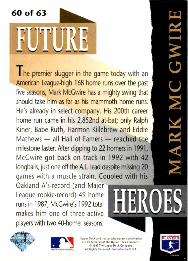 1993 Upper Deck Series 2 Future Heros Mark McGwire #60 card back image