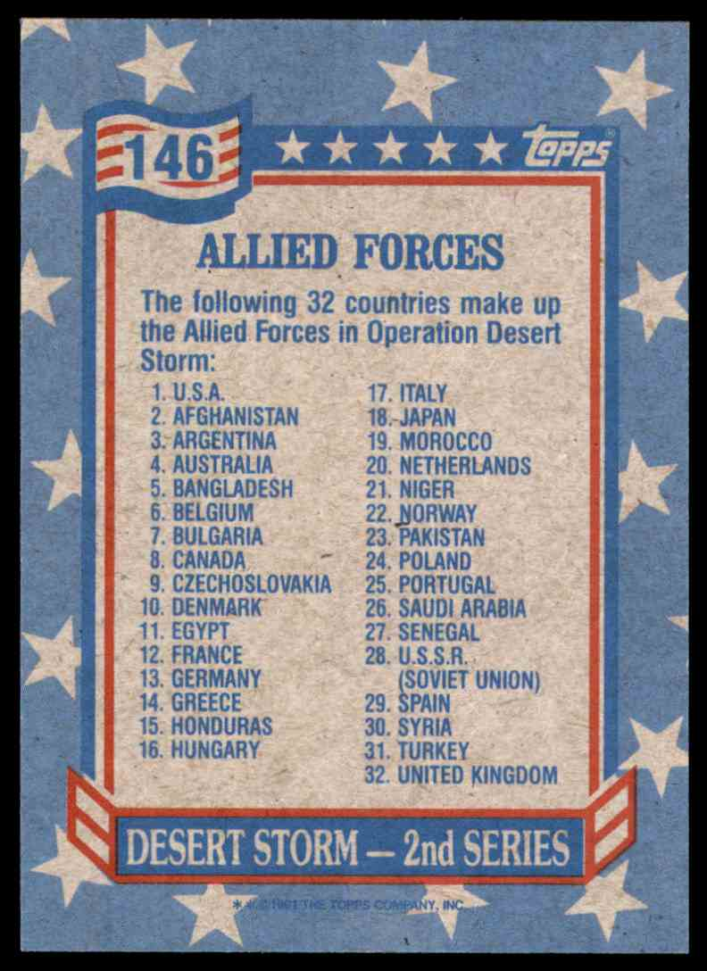 1991 Desert Storm Topps Allied Forces #146 card back image