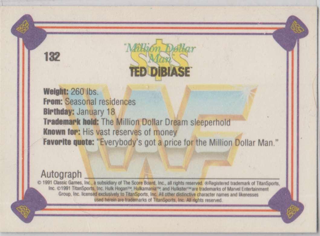 1991 Classic WWF Superstars Million Dollar Man Ted Dibiase #132 card back image