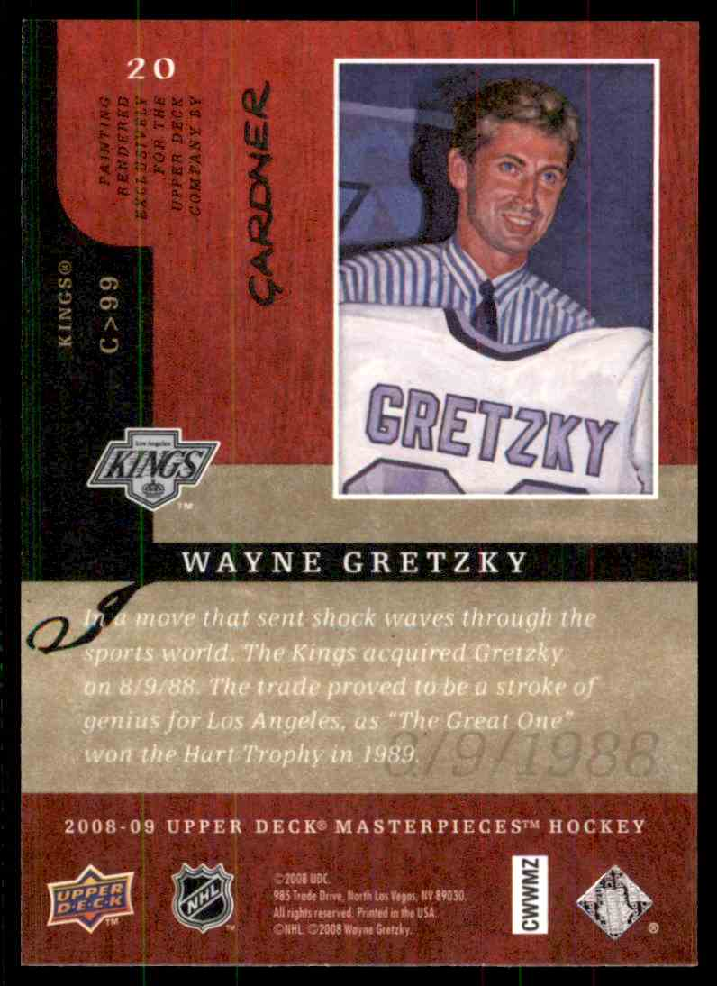 2008-09 Upper Deck Masterpieces Wayne Gretzky #20 card back image