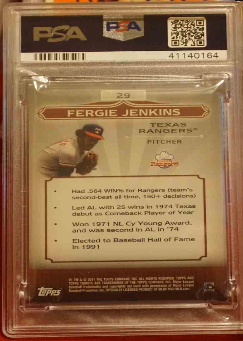 2011 Topps Tribute PSA/DNA Fergie Jenkins card back image