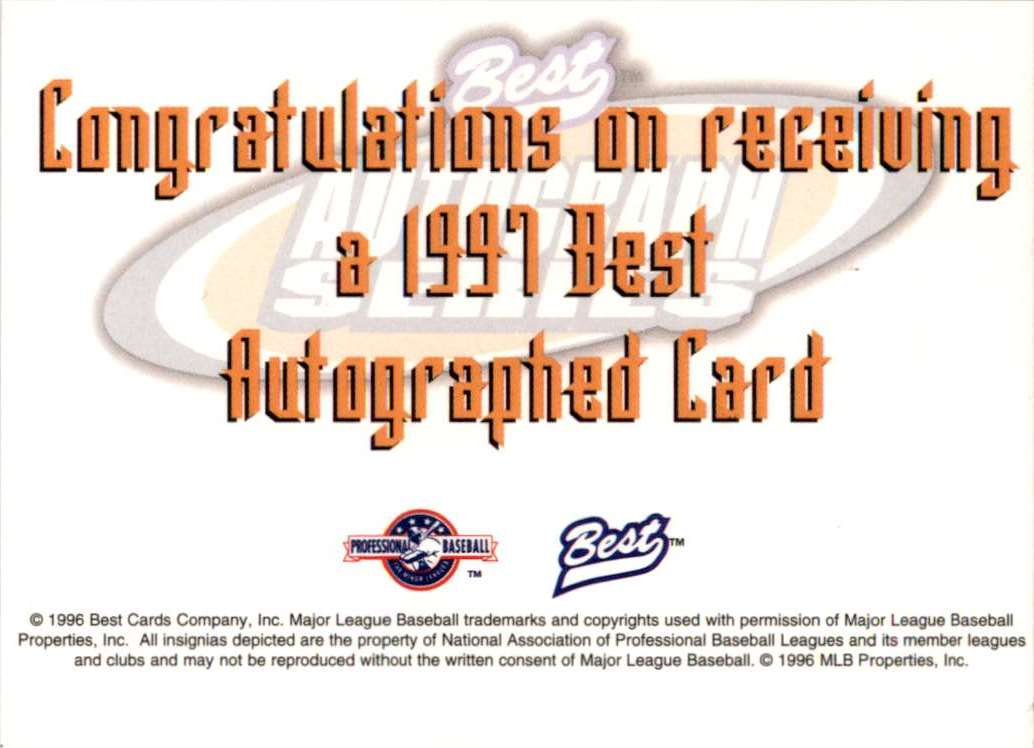 1997 Best Autographs Autograph Series Marc Barcelo #3 card back image