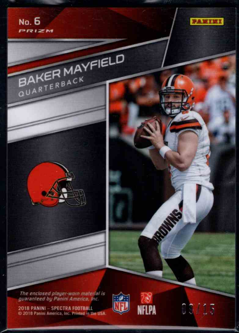 2018 Panini Spectra Baker Mayfield #6 card back image