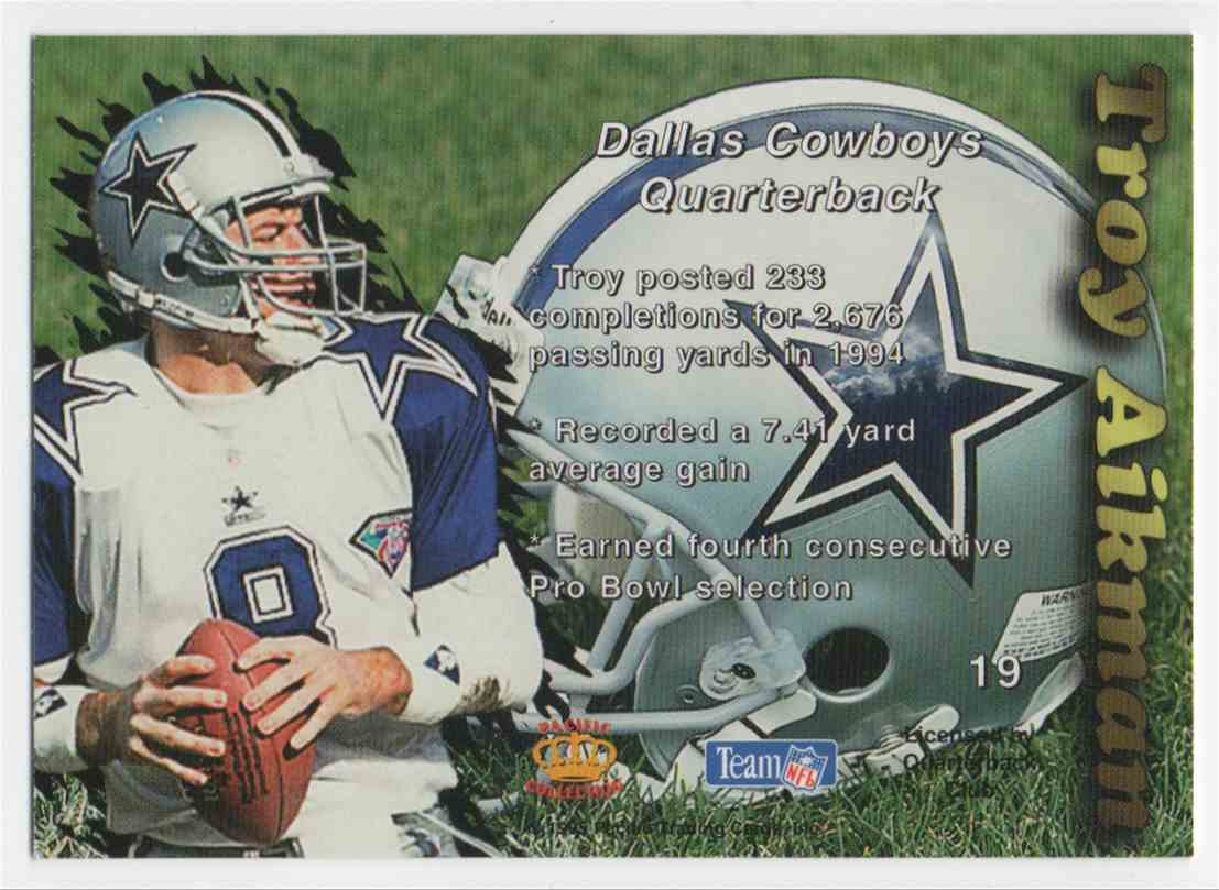 1995 Pacific Prism Gold Troy Aikman #19 card back image