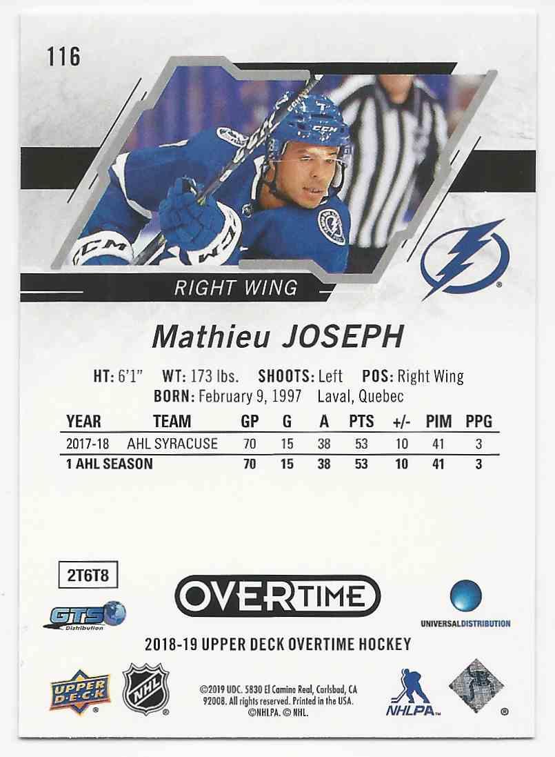2018-19 Upper Deck Overtime Mathieu Joseph #116 card back image