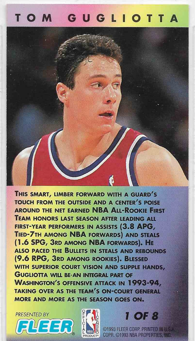 1993-94 Fleer NBA Jam Session Tom Gugliotta #1 card back image