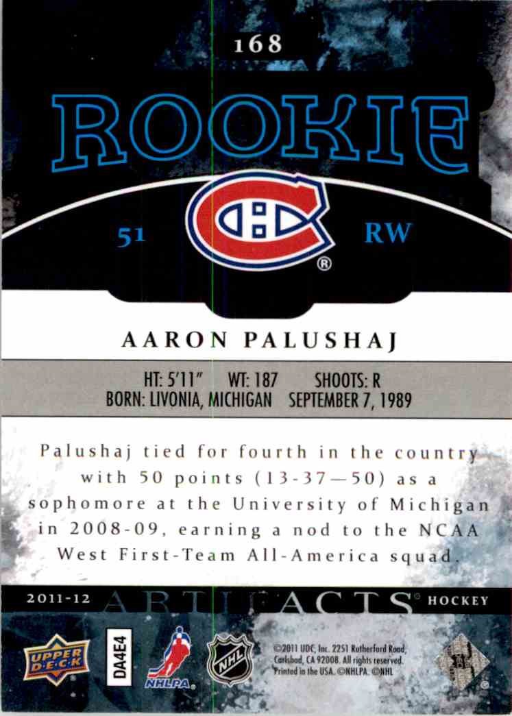 2011-12 Upper Deck Artifacts Aaron Palushaj #168 card back image