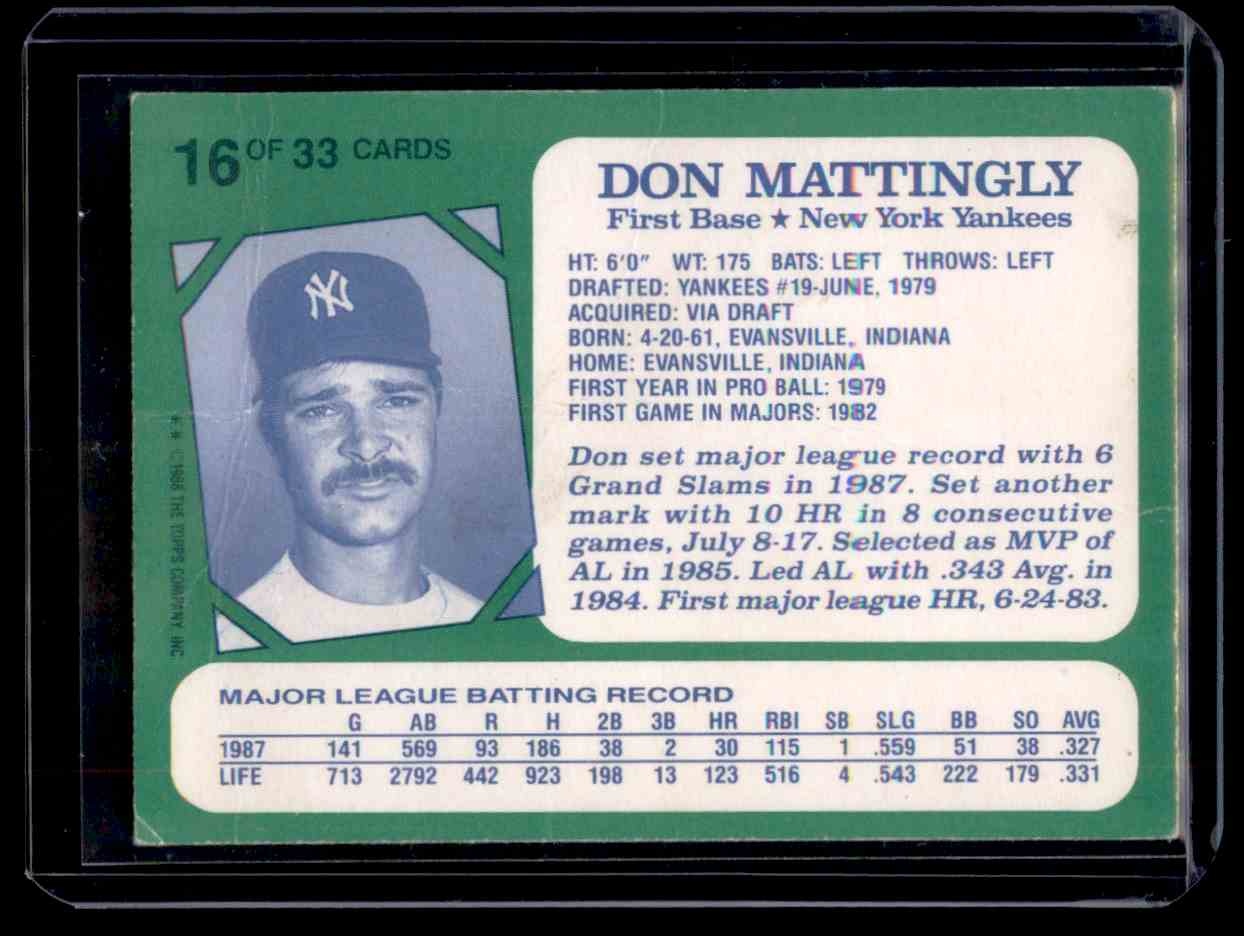 1988 Topps Kay Bee Toys Superstars Of Baseball Don Mattingly #16 card back image