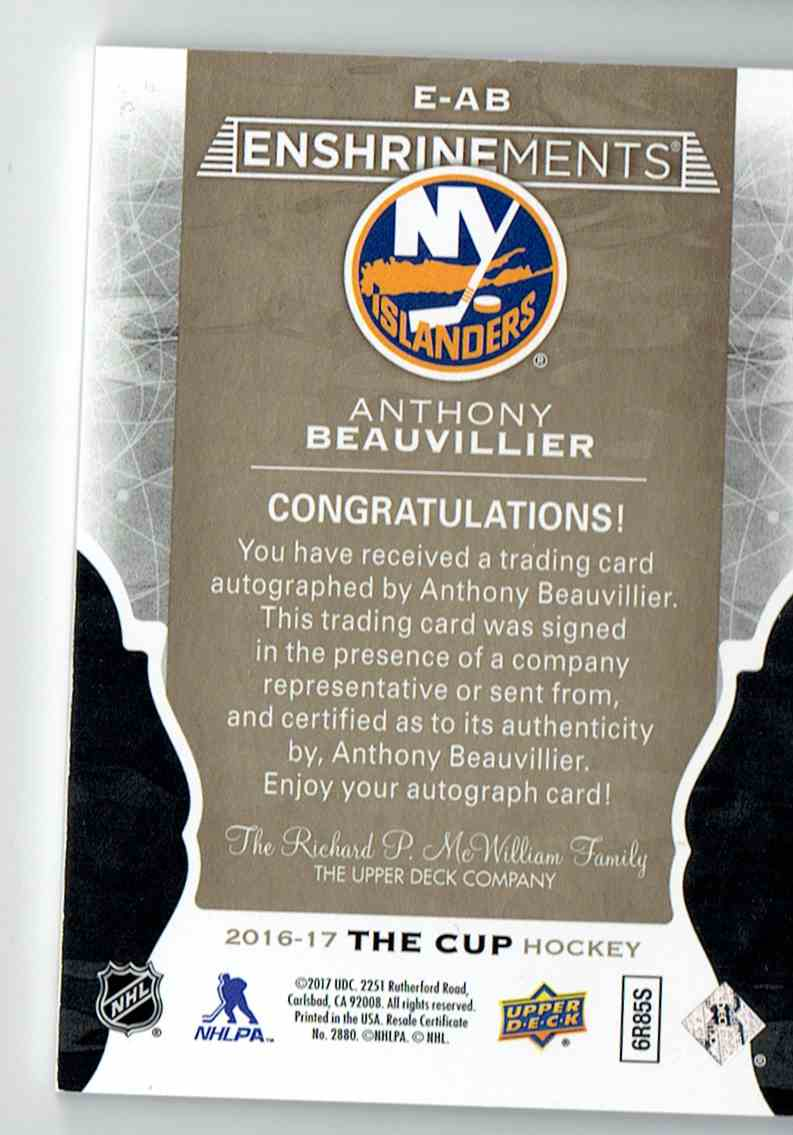 2016-17 The Cup Ensheinements Anthony Beauvillier #E-AB card back image
